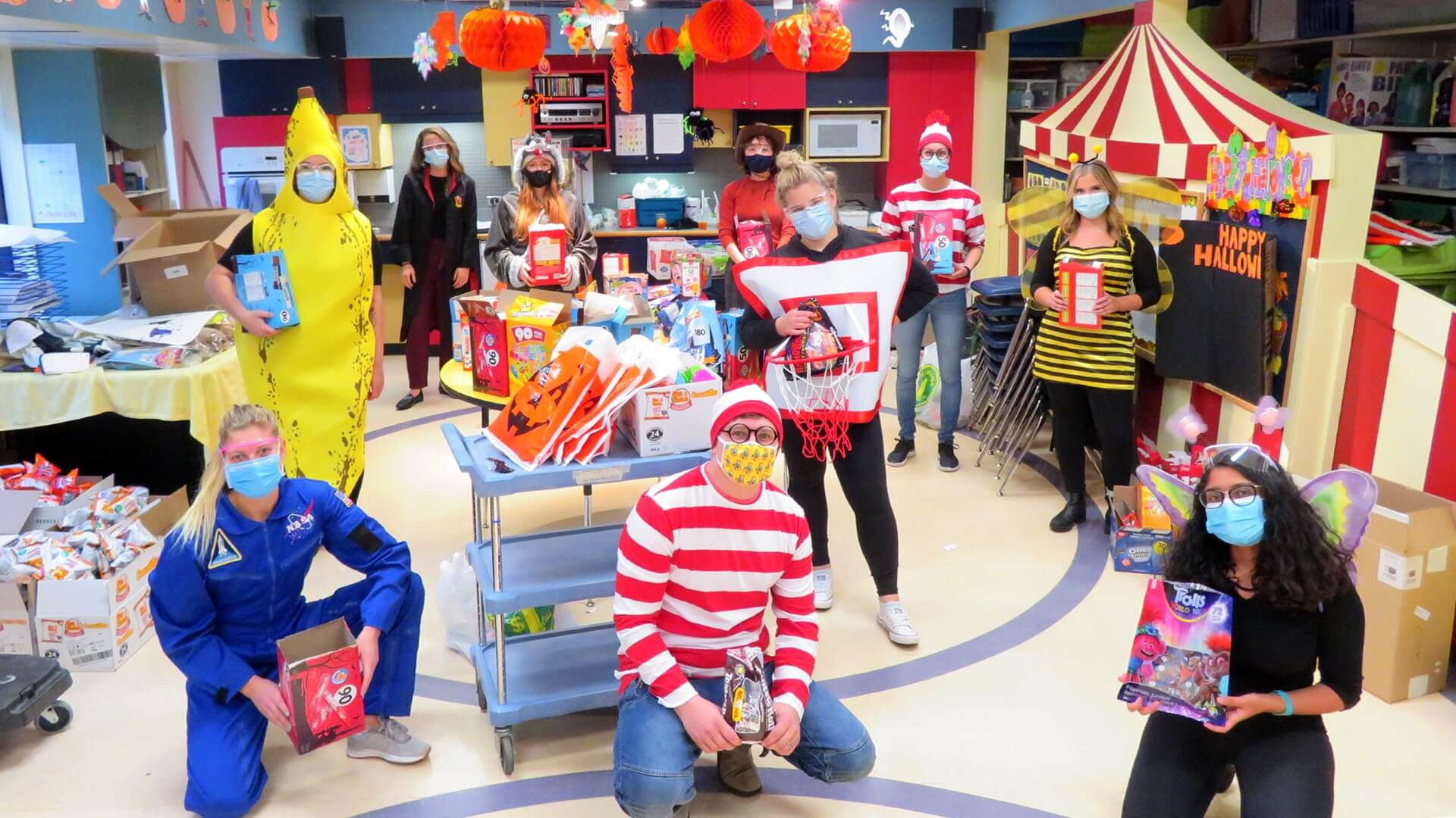 Intrepid Child Life team and medical student volunteers safely deliver Halloween fun to kids in hospital