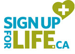 The Sign Up for Life logo, which is the word signs up for life, and a cartoon heart with a plus sign in it.